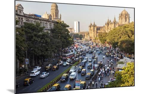 Chhatrapati Shivaji Terminus Train Station and Central Mumbai, India-Peter Adams-Mounted Photographic Print
