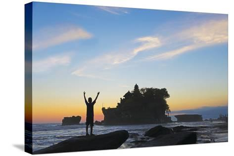 Tourist at Tanah Lot. Bali Island, Indonesia-Keren Su-Stretched Canvas Print