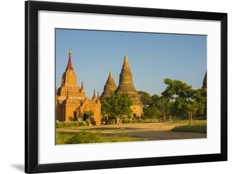 Myanmar. Bagan. Red Brick Temple Glows in the Late Afternoon Light-Inger Hogstrom-Framed Art Print