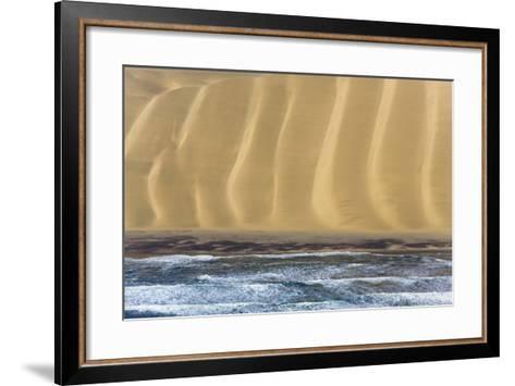 Namibia. Aerial of Namibian Sand Dunes Meeting the Atlantic Ocean-Janet Muir-Framed Art Print