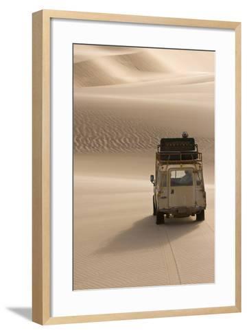 Skeleton Coast, Namibia. Land Rover Venturing Out over the Sand Dunes-Janet Muir-Framed Art Print