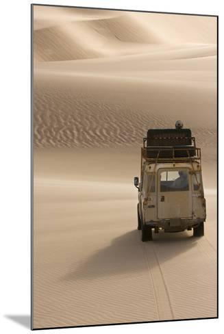 Skeleton Coast, Namibia. Land Rover Venturing Out over the Sand Dunes-Janet Muir-Mounted Photographic Print