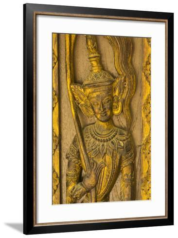 Myanmar. Mandalay. Sagaing Hill. Detail of a Tiny Carved Teak Temple-Inger Hogstrom-Framed Art Print