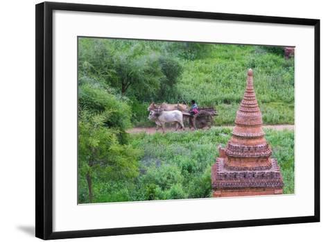 Farmer Driving an Ox-Cart, Bagan, Mandalay Region, Myanmar-Keren Su-Framed Art Print