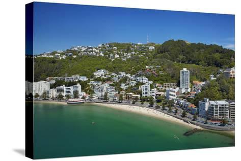 Oriental Bay, and Mt Victoria, Wellington, North Island, New Zealand-David Wall-Stretched Canvas Print