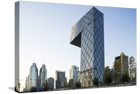 China, Beijing, Gleaming Steel and Glass Cctv Building-Paul Souders-Stretched Canvas Print