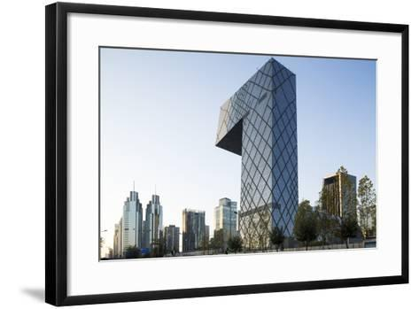 China, Beijing, Gleaming Steel and Glass Cctv Building-Paul Souders-Framed Art Print