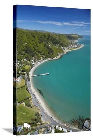 Days Bay, Eastbourne and Wellington Harbour, Wellington, New Zealand-David Wall-Stretched Canvas Print