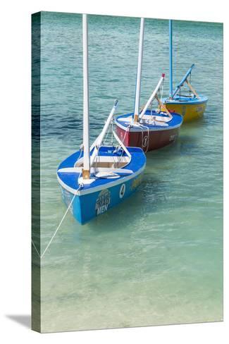 Bahamas, Exuma Island. Boats Moored in Harbor-Don Paulson-Stretched Canvas Print