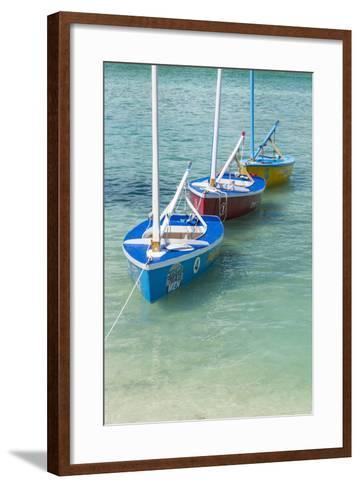 Bahamas, Exuma Island. Boats Moored in Harbor-Don Paulson-Framed Art Print