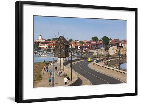 Bulgaria, Black Sea Coast, Nesebar, Old Windmill on the Waterfront-Walter Bibikow-Framed Art Print