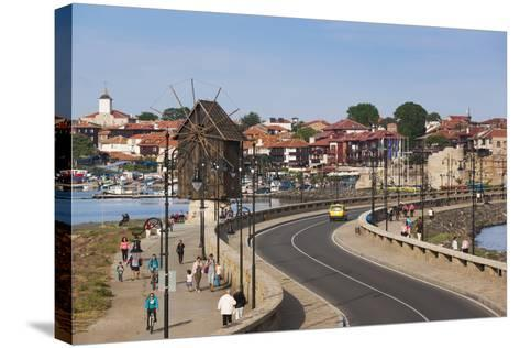Bulgaria, Black Sea Coast, Nesebar, Old Windmill on the Waterfront-Walter Bibikow-Stretched Canvas Print