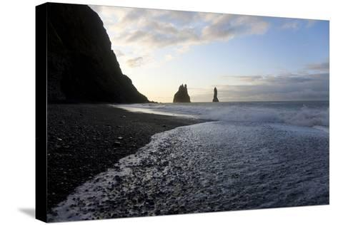 Reynisdrangar Rock Formations and Black Beach, Vik, Iceland-Peter Adams-Stretched Canvas Print