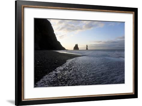 Reynisdrangar Rock Formations and Black Beach, Vik, Iceland-Peter Adams-Framed Art Print