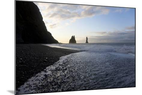 Reynisdrangar Rock Formations and Black Beach, Vik, Iceland-Peter Adams-Mounted Photographic Print