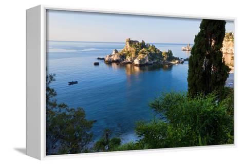 View of Isola Bella Island, Taormina, Sicily, Italy-Peter Adams-Framed Canvas Print