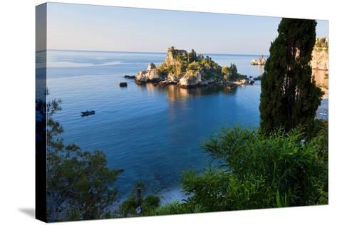 View of Isola Bella Island, Taormina, Sicily, Italy-Peter Adams-Stretched Canvas Print