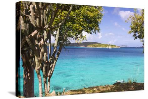 Us Virgin Island, St John. View of St Thomas Sailboats and Snorkelers-Trish Drury-Stretched Canvas Print