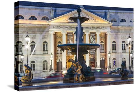 D. Maria II National Theatre, Rossio Square, Lisbon, Portugal-Peter Adams-Stretched Canvas Print