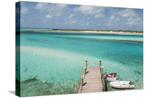 Bahamas, Exuma Island, Cays Land and Sea Park. Pier and Moored Boats-Don Paulson-Stretched Canvas Print
