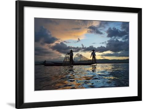 Intha Fisherman Rowing at Sunset on Inle Lake, Shan State, Myanmar-Keren Su-Framed Art Print