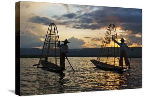 Intha Fisherman Rowing at Sunset on Inle Lake, Shan State, Myanmar-Keren Su-Stretched Canvas Print