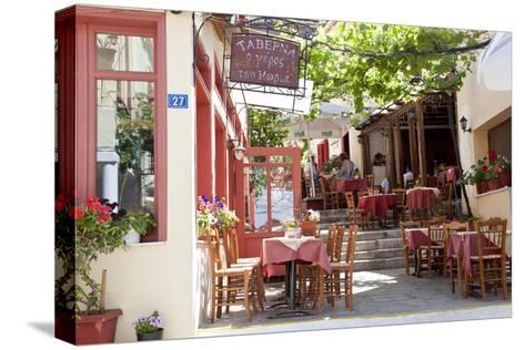 Cafe, Restaurant, Taverna, Plaka, Athens, Greece-Peter Adams-Stretched Canvas Print