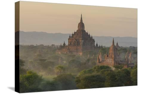 Myanmar. Bagan. Temples of Bagan at Sunset-Inger Hogstrom-Stretched Canvas Print