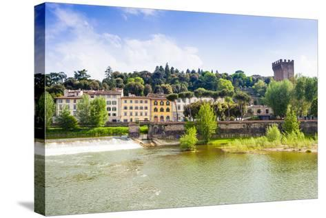River Arno, Tower of San Niccolo, Firenze, Tuscany, Italy-Nico Tondini-Stretched Canvas Print