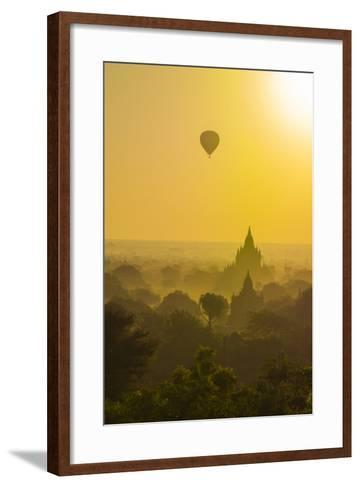 Myanmar. Bagan. Hot Air Balloons Rising over the Temples of Bagan-Inger Hogstrom-Framed Art Print