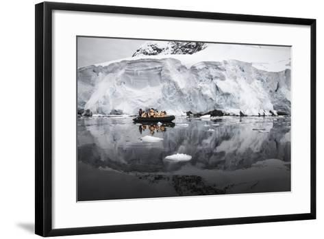 Antarctica. Tourists Looking at a Glacier from a Zodiac-Janet Muir-Framed Art Print