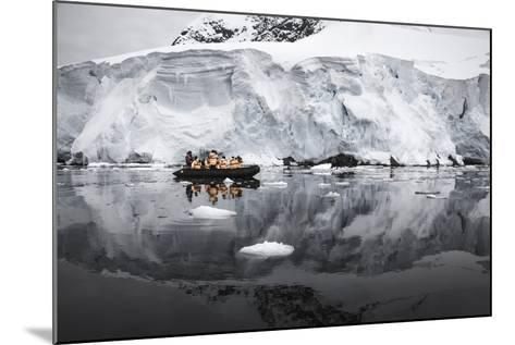 Antarctica. Tourists Looking at a Glacier from a Zodiac-Janet Muir-Mounted Photographic Print