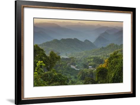 Myanmar. Shan State. Sunset over the Ridges of Haze-Filled Hills-Inger Hogstrom-Framed Art Print