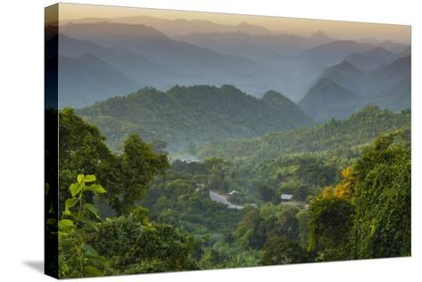Myanmar. Shan State. Sunset over the Ridges of Haze-Filled Hills-Inger Hogstrom-Stretched Canvas Print