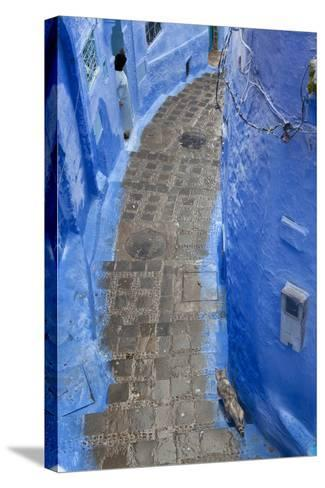 Narrow Lane, Chefchaouen, Morocco-Peter Adams-Stretched Canvas Print