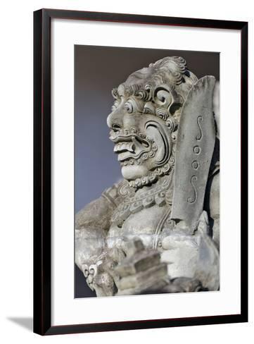 Stone Statue at Entrance of Tanah Lot. Bali Island, Indonesia-Keren Su-Framed Art Print