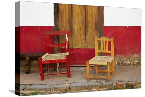 Mexico, Jalisco, San Sebastian del Oeste. Rustic Door and Chairs-Steve Ross-Stretched Canvas Print