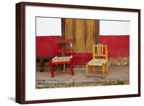 Mexico, Jalisco, San Sebastian del Oeste. Rustic Door and Chairs-Steve Ross-Framed Art Print