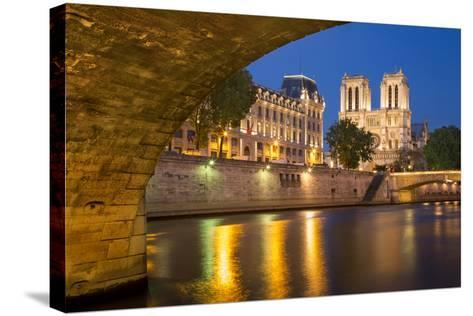 Twilight, Cathedral Notre Dame and River Seine, Paris, France-Brian Jannsen-Stretched Canvas Print