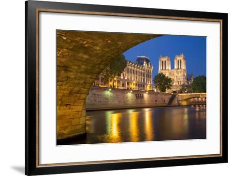 Twilight, Cathedral Notre Dame and River Seine, Paris, France-Brian Jannsen-Framed Art Print