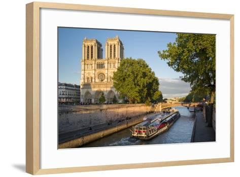 Cruise Barge, River Seine, and Cathedral Notre Dame, Paris, France-Brian Jannsen-Framed Art Print
