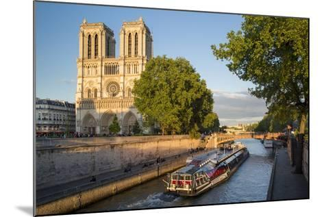 Cruise Barge, River Seine, and Cathedral Notre Dame, Paris, France-Brian Jannsen-Mounted Photographic Print