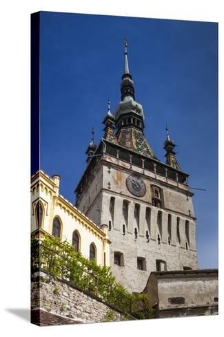 Romania, Transylvania, Sighisoara, Clock Tower, Built in 1280, Morning-Walter Bibikow-Stretched Canvas Print