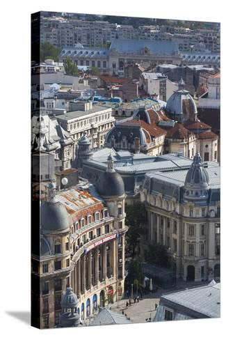 Romania, Bucharest, Buildings in Lipscani, Old Town, Elevated View-Walter Bibikow-Stretched Canvas Print