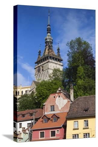 Romania, Transylvania, Sighisoara, Clock Tower, Built in 1280, Morning-Walter Bibikow-Stretched Canvas Print