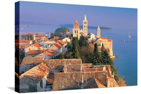 Cityscape at Sunset, Rab Island, Croatia-Peter Adams-Stretched Canvas Print