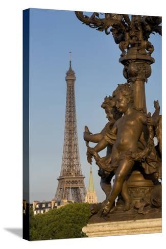 Pont Alexndre III with Eiffel Tower, Paris, France-Brian Jannsen-Stretched Canvas Print