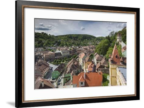 Romania, Transylvania, Sighisoara, Elevated City View from Clock Tower-Walter Bibikow-Framed Art Print