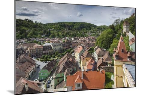 Romania, Transylvania, Sighisoara, Elevated City View from Clock Tower-Walter Bibikow-Mounted Photographic Print