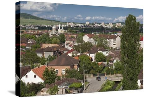 Romania, Transylvania, Hunedoara, Elevated View from Corvin Castle-Walter Bibikow-Stretched Canvas Print
